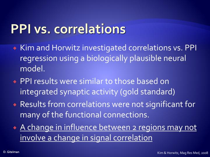 PPI vs. correlations