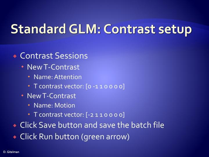 Standard GLM: Contrast setup