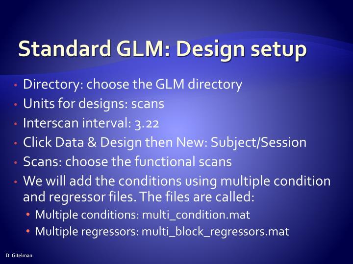 Standard GLM: Design setup