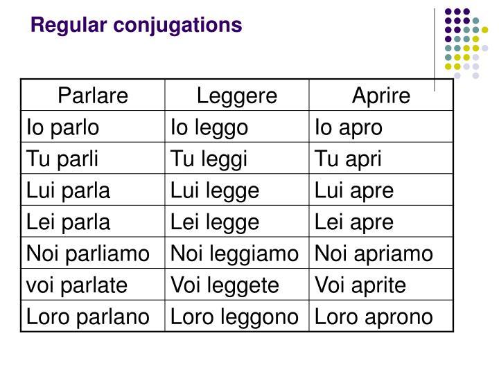 Regular conjugations