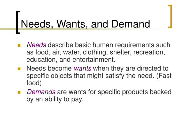 Needs, Wants, and Demand