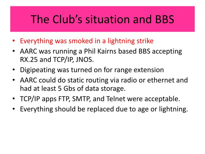 The Club's situation and BBS