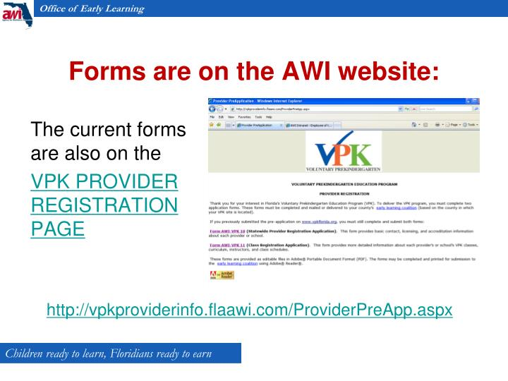 Forms are on the AWI website:
