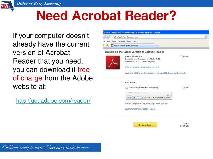 Need Acrobat Reader?