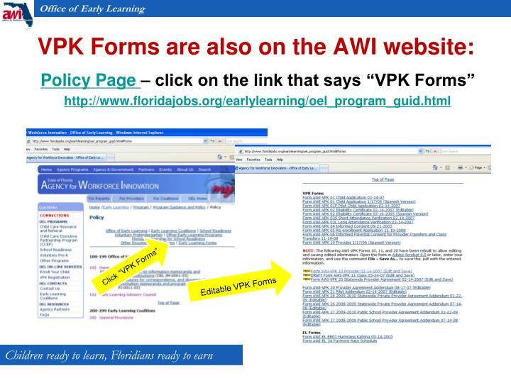 VPK Forms are