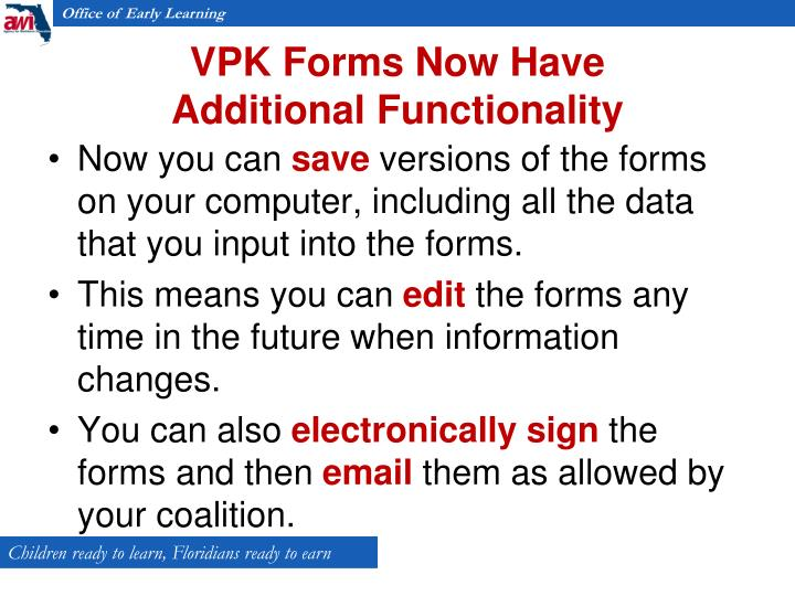 VPK Forms Now Have
