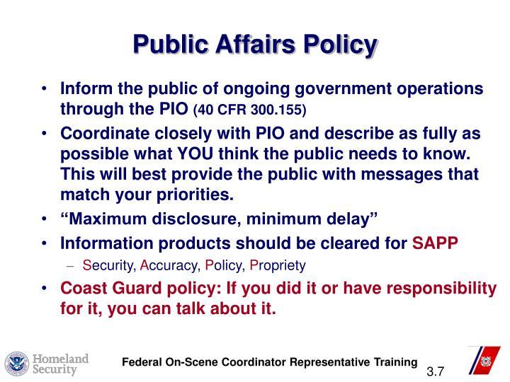 Public Affairs Policy