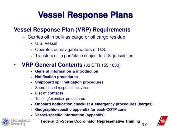 Vessel Response Plans