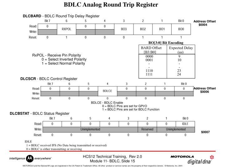 BDLC Analog Round Trip Register