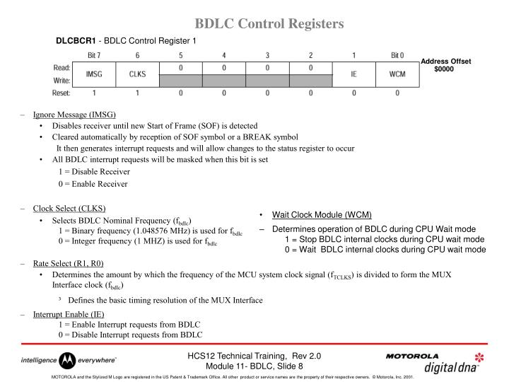 BDLC Control Registers