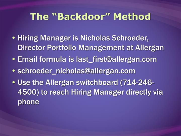 "The ""Backdoor"" Method"