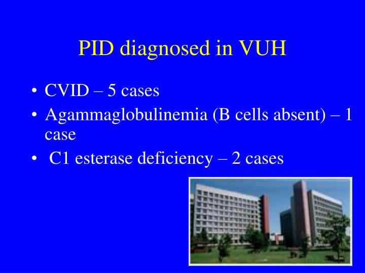 PID diagnosed in VUH
