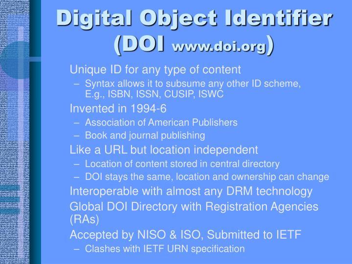Digital Object Identifier (DOI
