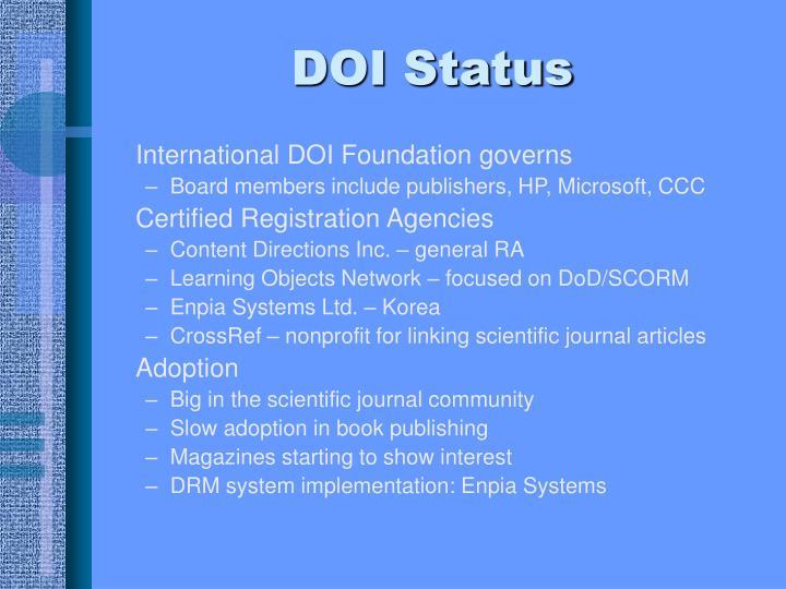DOI Status