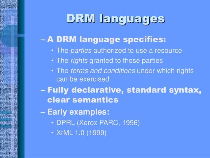 DRM languages