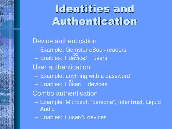 Identities and Authentication