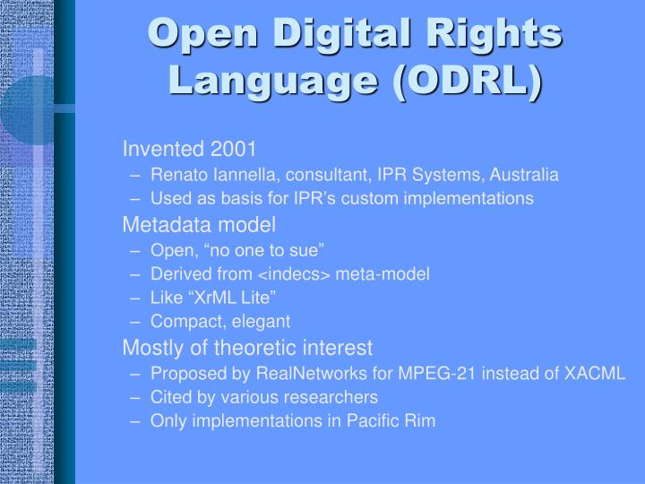 Open Digital Rights Language (ODRL)