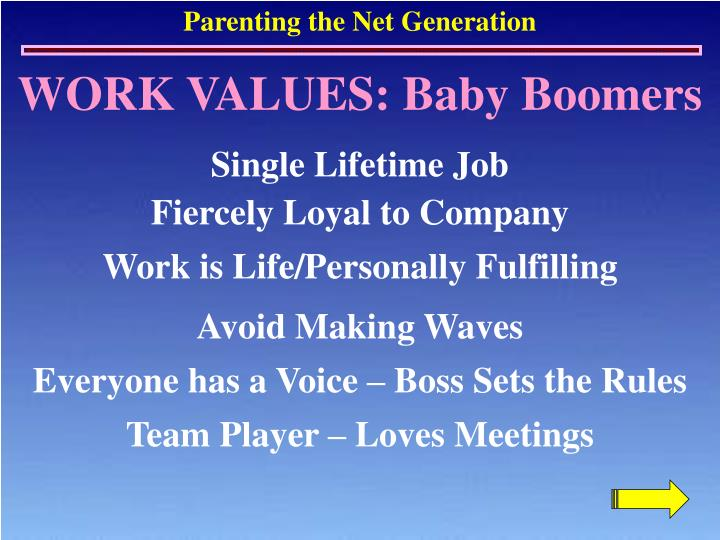 WORK VALUES: Baby Boomers