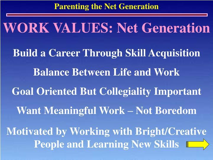 WORK VALUES: Net Generation