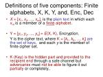 definitions of five components finite alphabets x k y and enc dec