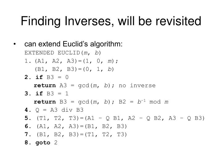 Finding Inverses, will be revisited