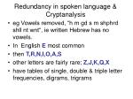 redundancy in spoken language cryptanalysis