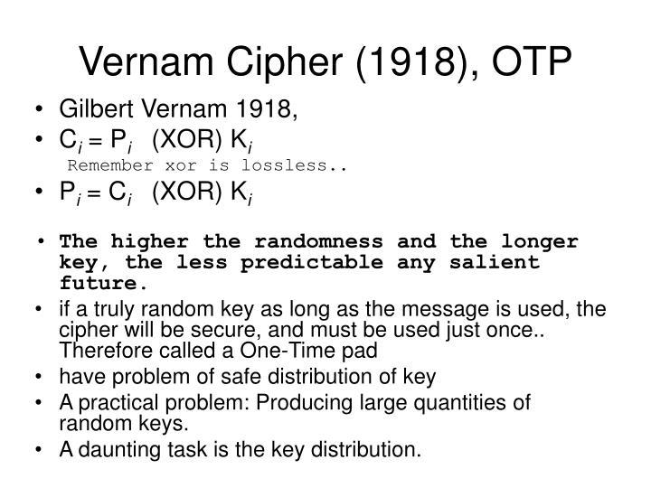 Vernam Cipher (1918), OTP