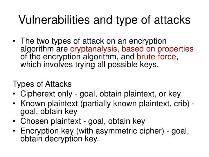 Vulnerabilities and type of attacks
