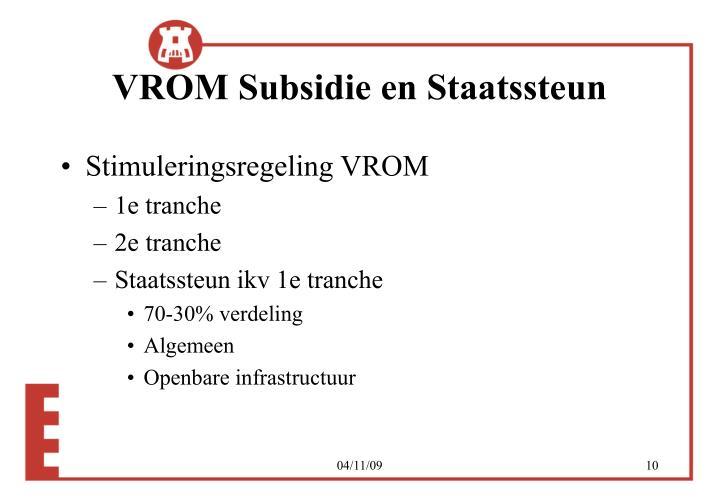 VROM Subsidie en Staatssteun