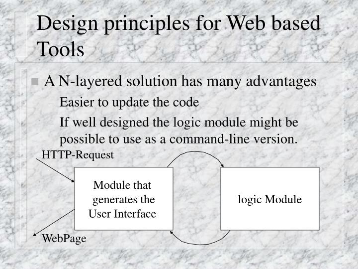 Design principles for Web based Tools