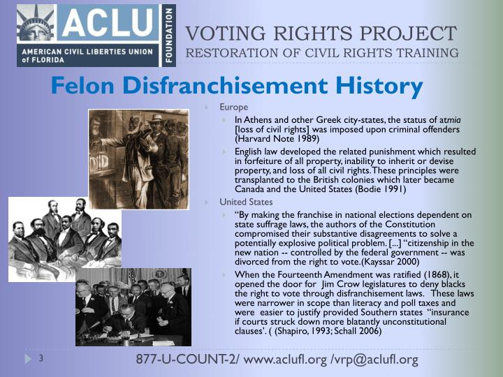 the effects of not passing a law that would give voting rights to felons Communities with high numbers of ex-felons lose their voices at the polls, and voting restrictions can have a measurable effect even on national political elections.