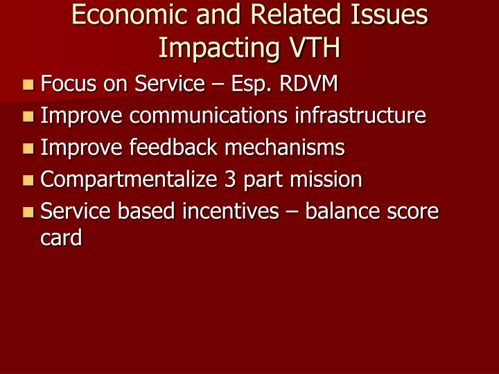Economic and Related Issues Impacting VTH