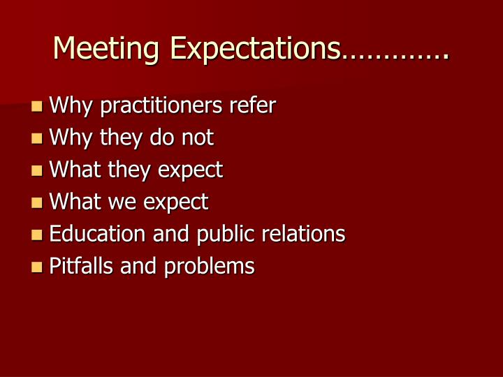 Meeting Expectations………….