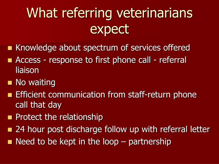 What referring veterinarians expect