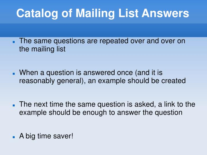Catalog of Mailing List Answers