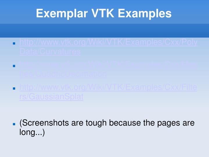 Exemplar VTK Examples