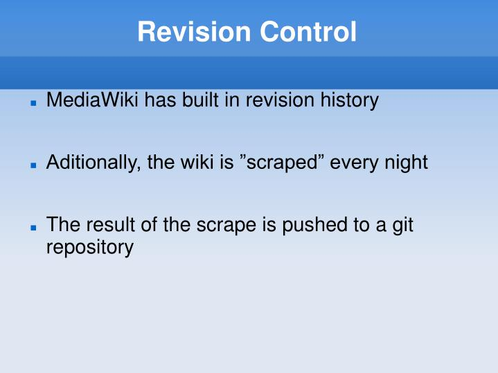 Revision Control