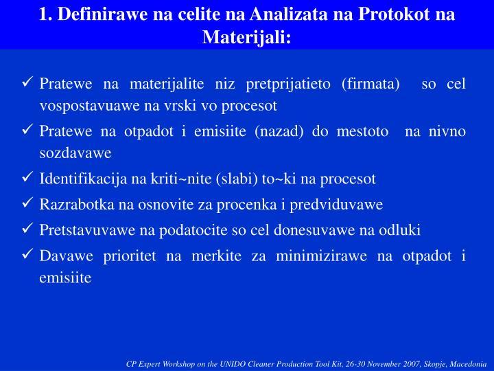 1. Definirawe na celite na Analizata na Protokot na Materijali:
