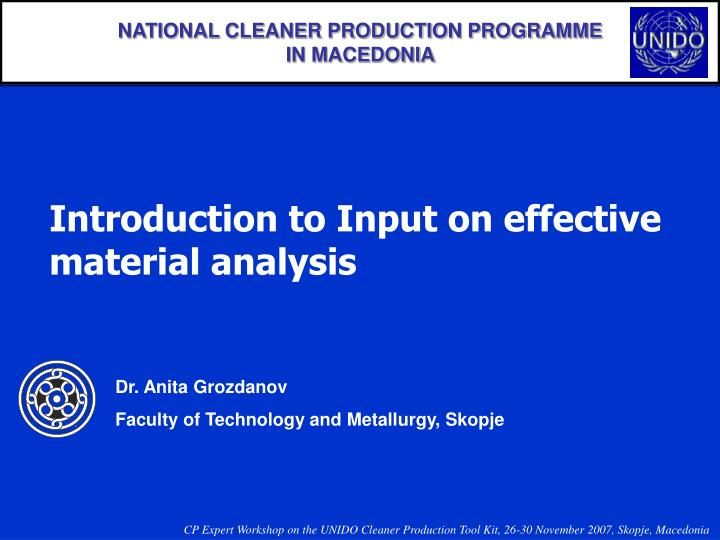 NATIONAL CLEANER PRODUCTION PROGRAMME
