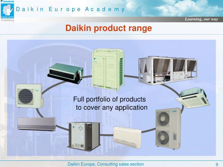 Full portfolio of products