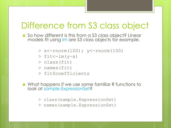 Difference from S3 class object