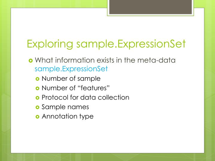 Exploring sample.ExpressionSet