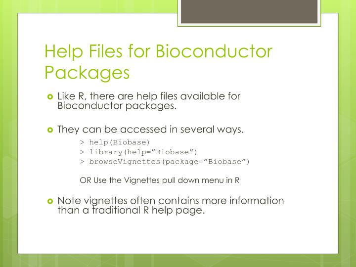Help Files for Bioconductor Packages