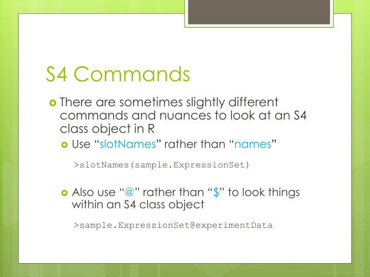 S4 Commands
