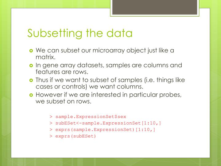 Subsetting the data