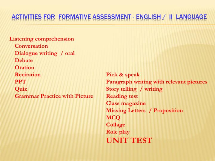 ACTIVITIES FOR  FORMATIVE assessment - English /  II  Language