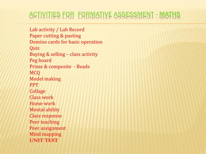 ACTIVITIES FOR  FORMATIVE assessment -
