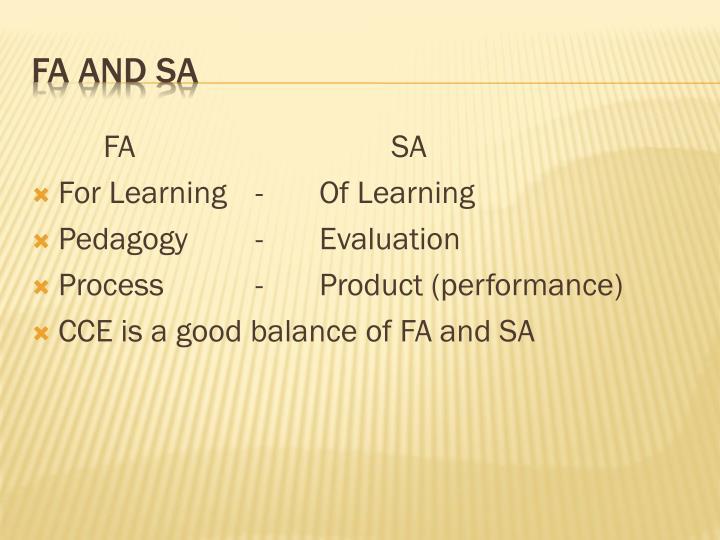 FA and SA