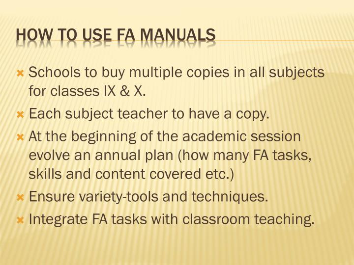 How to Use FA Manuals