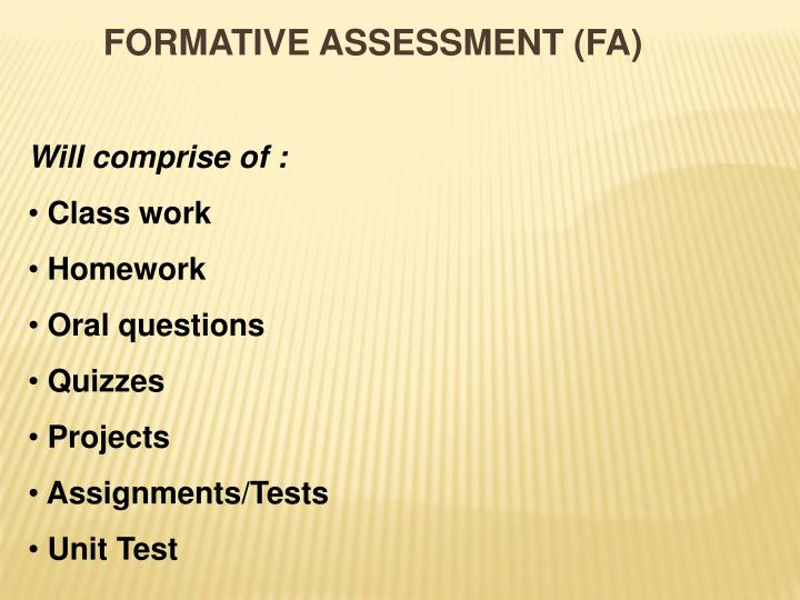 FORMATIVE ASSESSMENT (FA)